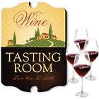Personalized Oakmont Wine Glasses and Tasting Room Bar Sign