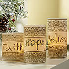 Faith, Hope, Believe LED Candle Set