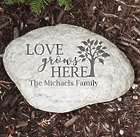 "Love Grows Here Engraved 11"" Garden Stone"
