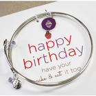 Meaningful Message Birthday Bracelet with Cupcake Charm
