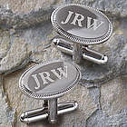 Monogram Elite Personalized Silver Cuff Links