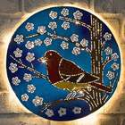 Lighted Recycled Metal Bird Wall Art