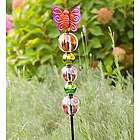 Glass Butterfly and Ball Garden Stake