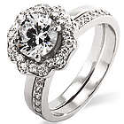 Sterling Silver Blooming Flower CZ Engagement Ring Set
