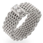 Sterling Silver and Cubic Rirconia Bar Mesh Ring