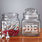 Personalized Be Mine Engraved Glass Jar