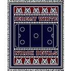 Classic Personalized Three Color Ice Hockey Afghan