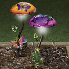 Painted Glass Shade Solar Garden Mushroom