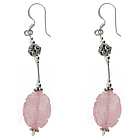 Marcasite & Carved Rose Quartz Silver Earrings