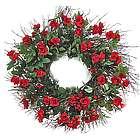 Handcrafted Twig and Red Rose Indoor Wreath