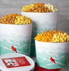 2 Gallons and 4 Flavors of Popcorn in Crimson Cardinal Tin