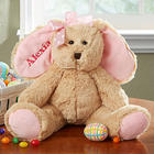 Personalized Easter Bunny Stuffed Animal with Pink Bow