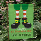Personalized Happy St. Patrick's Day Leprechaun Feet Garden Flag