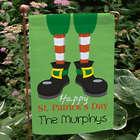 Personalized Happy St. Patrick's Day Leprechaun Feet Garden Flag