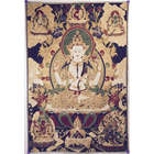 Avalokiteshvara Buddha on Navy Blue and Gold Tapestry