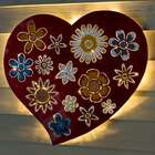 Lighted Floral Love Recycled Oil Drum Lid Wall Art