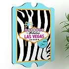 Personalized Blue Zebra Gal's Las Vegas Vintage Sign