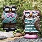 Hipster Lady Owl Solar Garden Sculpture