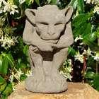 Thinking Gargoyle Cast Stone Candle Holder