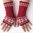Snowflake Red Fingerless Knit Gloves