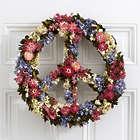"16"" Floral Peace Sign Wreath"