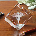 Caduceus 3-D Personalized Crystal Sculpture