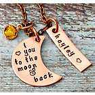 Love You to the Moon Personalized Birthstone Copper Necklace