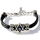 Star of David Protection Leather Bracelet