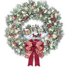 Musical Christmas Village Wreath