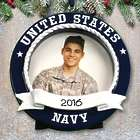 Personalized US Navy Picture Frame Ornament