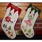 Velvet and Needlepoint Frog Personalized Christmas Stocking