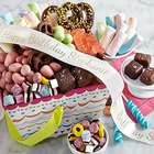 Birthday Treats in a Gift Basket with Personalized Ribbon