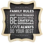 Wooden Family Rules Wall Art with Black Printed Backing