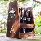 Personalized Rustic Craft Beer Caddy with Bottle Opener