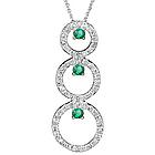 Diamond & Emerald Trio-Circle Pendant