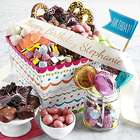Deluxe Birthday Treats in a Gift Basket with Personalized Ribbon