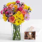 100 Blooms of Sunshine for Mom with Square Glass Vase & Chocolate