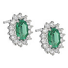 Emerald Earrings in 18K White Gold