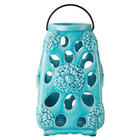 Elements Ceramic Teal Floral Lantern