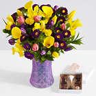 Monet's Garden with Lavender Scallops Vase and Chocolates