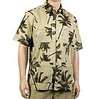 Hawaiian Guayabera Khaki Shirt with Palm Trees