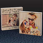 Love Makes The World Go Round Double Sided Photo Bamboo Plaque