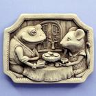 Tea For Two Stone Mouse and Frog Plaque