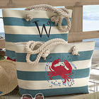 Personalized Striped Crab Bag with Rope Handles