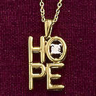 Stacked Hope with Diamond Accent Pendant Necklace