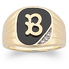 Men's Personalized Genuine Onyx Initial Ring with Diamond Accent