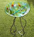 Glass Dragonfly Birdbath with Stand