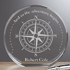 Personalized Compass Inspired Premium Crystal Award
