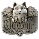 Gothic Cat Welcome Hand-Cast Stone Plaque