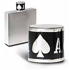 Pewter Flask with Ace of Spades Design Enamel Cap